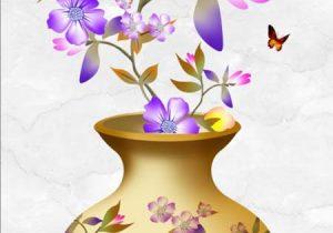 Tranh dán tường 3D bình hoa
