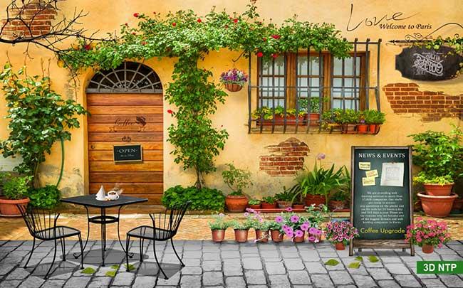 Tranh cổng hoa dán tường 3D