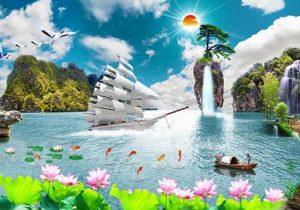 Tranh thuận buồm xuôi gió sơn thủy
