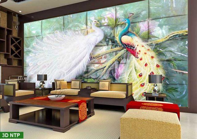 Tranh dán tường công phượng 3D phòng khách