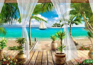 tranh cửa sổ cảnh biển