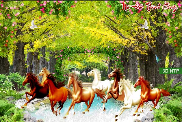 Tranh ngựa phong cảnh