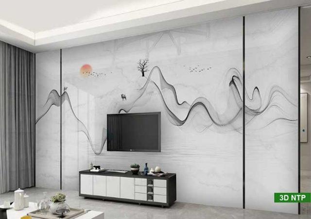 Tranh dán tường 3D phòng khách giả đá