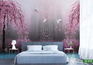 Tranh dán tường 3D phòng ngủ chủ đề phong cảnh