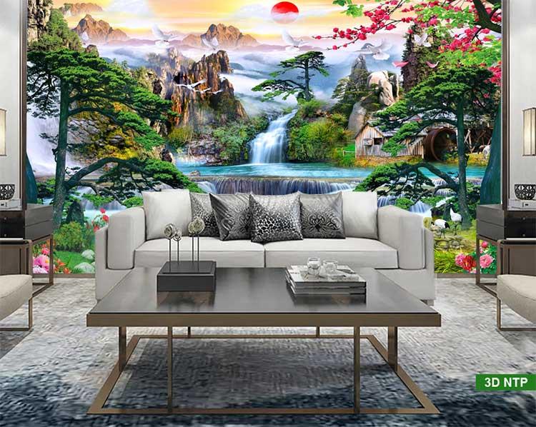 Tranh sơn thủy hữu tình dán tường phòng khách