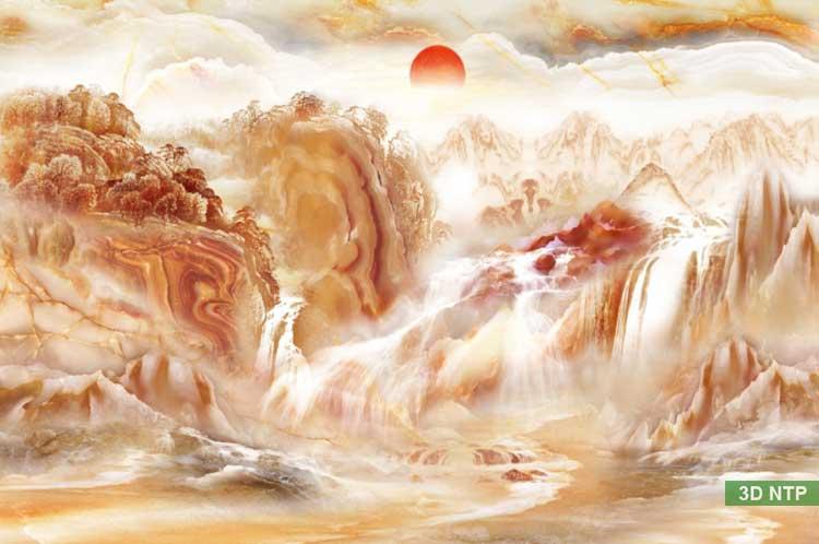 Tranh sơn thủy hữu tình giả ngọc - giả đá