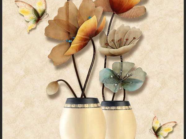Tranh bình hoa 3D phong cách tân cổ điển