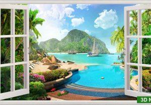 Tranh cửa sổ sơn thủy phong cảnh
