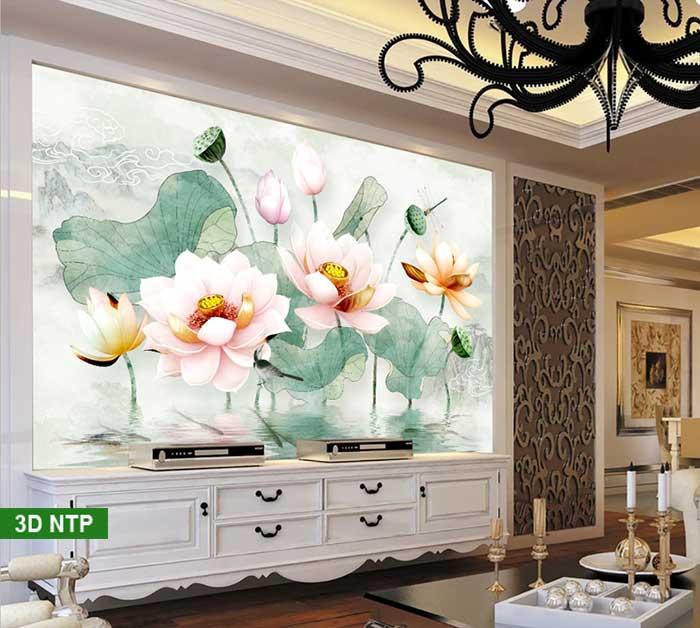 Tranh hoa sen 3D dán tường