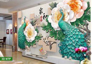 Tranh dán tường 3D phòng khách công phượng