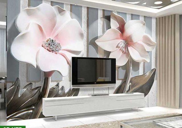 Tranh phòng khách hoa 3D