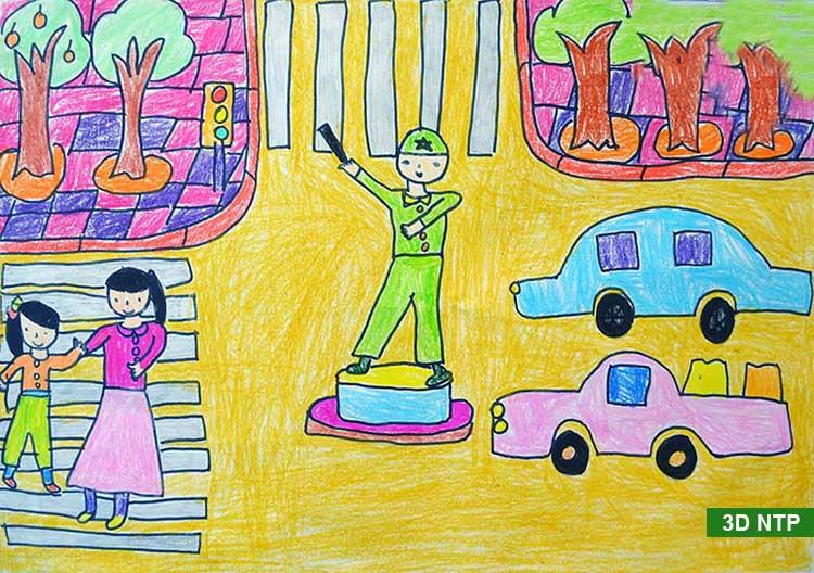 Tranh vẽ chú công an đang điều tiết các phương tiện giao thông