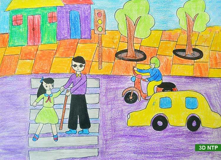 vẽ tranh an toàn khi tham gia giao thông