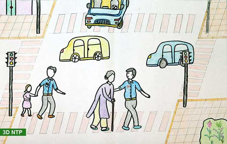 Vẽ tranh tham gia giao thông ngường đường cho người già và trẻ em