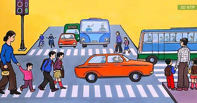 vẽ tranh an toàn khi tham gia giao thông đi đúng làn đường