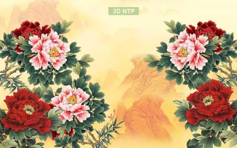 Tranh hoa mẫu đơn 8 bông