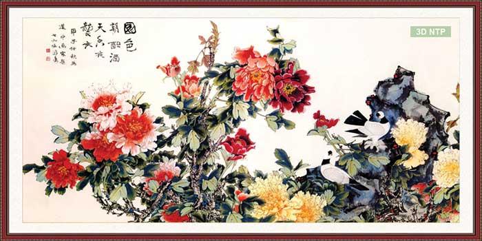 Tranh hoa mẫu đơn treo tường khung gỗ