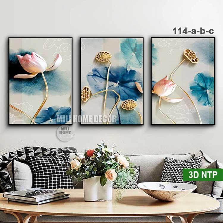 Mẫu tranh vải in canvas hoa sen 3D nghệ thuật