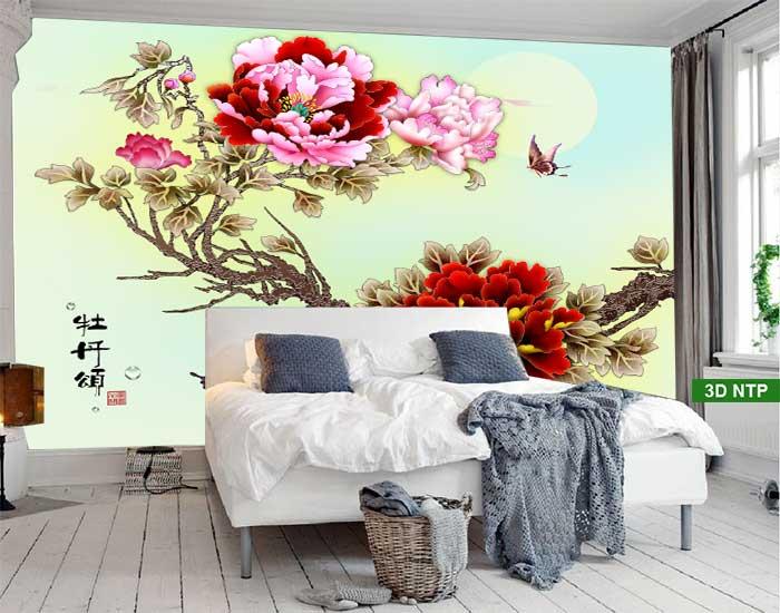 Tranh hoa mẫu đơn phòng ngủ