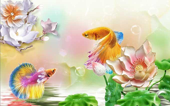Tranh cá chép nổi vân 4D, 5D