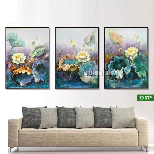 Tranh hoa tựa nét vẽ sơn dầu